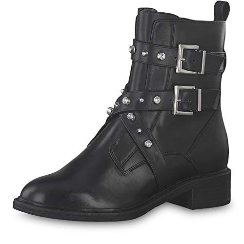 Tamaris Damen Stiefeletten 25415-23, Frauen Biker Boots, Bikerstiefelette Nieten Damen Frauen weibliche Ladies feminin,Black/Crystal,39 EU / 5.5 UK