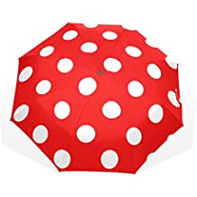 GUKENQ - Paraguas de Viaje con Lunares, Color Rojo, Ligero, Anti Rayos UV