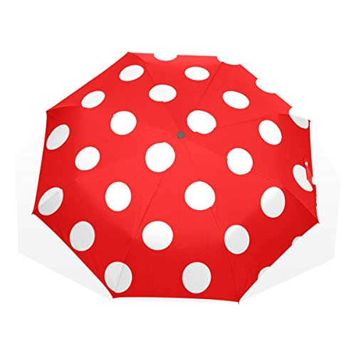 GUKENQ - Paraguas de Viaje con Lunares, Color Rojo, Ligero, Anti Rayos UV, Paraguas para Hombres, Mujeres y niños, Paraguas Plegable y Resistente al Viento