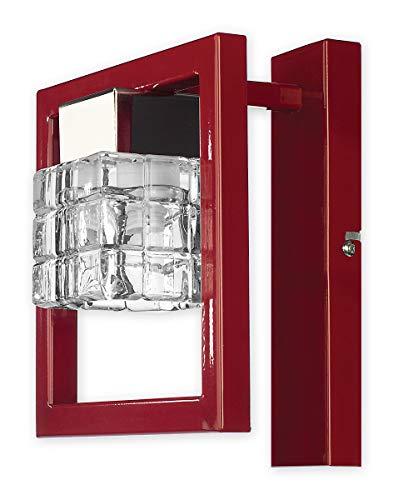 Elegante Wandleuchte in Rot Klar/Transparent Bauhausstil 1xE14 bis 60W 230V aus Stahl & Glas...