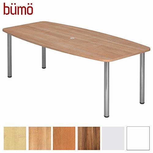 BÜMÖ Konferenztisch rund oval 220 x 103 cm in Nussbaum   Besprechungstisch mit Chromfüße   Hochwertiger Meetingtisch