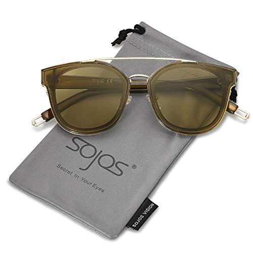 SOJOS Schick Klassische Retro Doppelt Metallbrücken Rechteckig Sonnenbrille Damen Herren SJ2038 mit Gold Rahmen/Olivgrün Linse