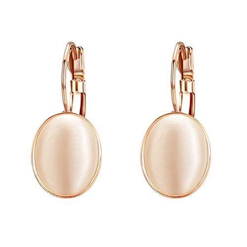 Yoursfs Vintage Damen Ohrclips Rote Oval Opal Klipp Ohrringe mit 18K Rosegold Vergoldeteund Groß Perle für Damen Frauen Mädchen