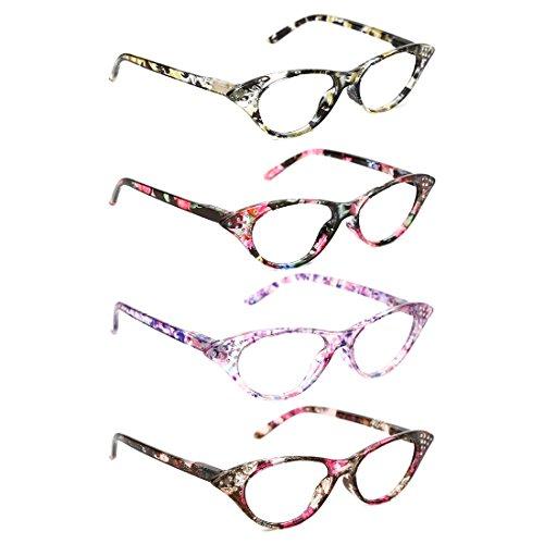 TIJN 4 Stueck Brillen Lesebrillen Federn-Scharnier Herren Damen Lesehilfe Sehhilfe Arbeitsplatzbrille