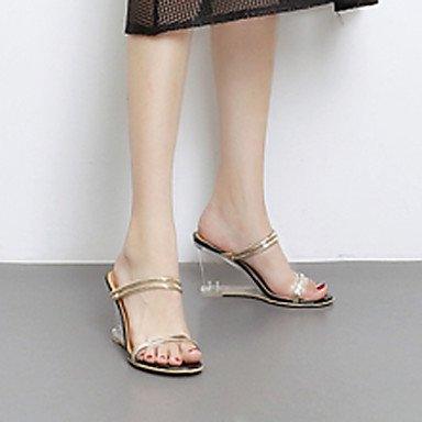 LvYuan Da donna Sandali Gomma Estate Tacco di cristallo Zeppa Bianco Nero 7,5 - 9,5 cm Black