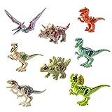 MAJOZ Dinosaurier Figuren, 8 Stück Mini Kinder Dinosaurier Spielzeug DIY Dinosaurier Bausteine Lernspielzeug