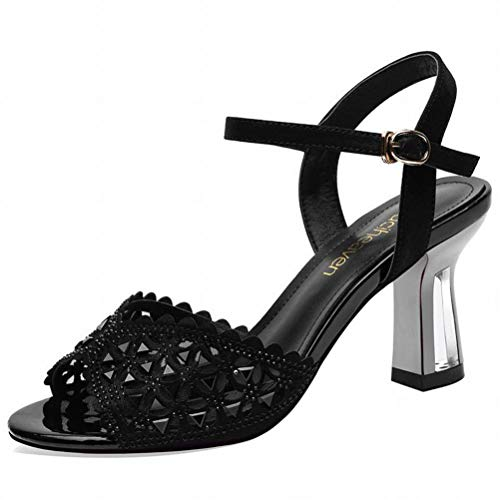 LTN Ltd - sandals Sandali Donna Romana Fata Estate Fata Vento Scarpe da Donna Scarpe col Tacco Alto Moda Estiva, Nero, 34