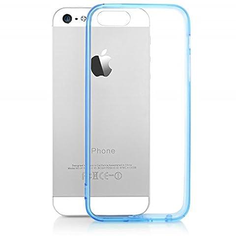 iPhone SE 5 5S Coque Silicone de NICA, Ultra-Fine Housse Transparente avec Contour de Protection Cover Slim Etui, Mince Telephone Portable Gel Bumper Case pour Apple iPhone 5 5S SE - Bleu