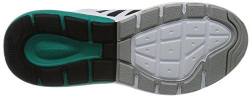 adidas Cloudfoam Flow, Chaussures de Sport Homme, Noir Multicolore - Blanco / Negro / Verde (Ftwbla / Negbas / Eqtver)