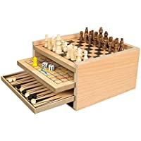 Invero® Deluxe Classic Wooden 7 in 1 Fun Family Games Set - Includes Chess, Draughts, Ludo, Snakes and Ladders, Noughts and Crosses, Backgammon and Chinese Checkers