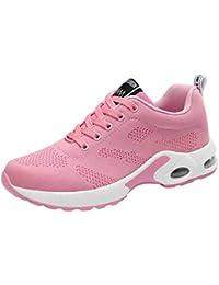 UOMOGO 6 Sneaker donna, Scarpe Donna da Ginnastica Running Sports Sneaker da Fitness Allacciare Maglia Nero Viola Rosso e Rosa