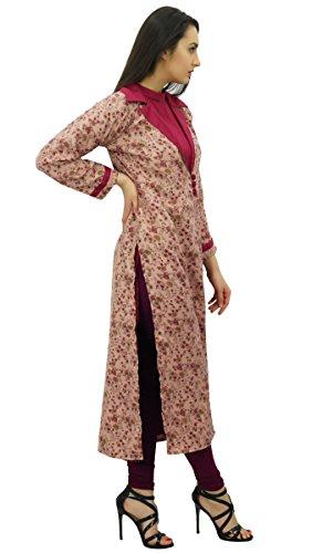 Bimba femmes dames 2 pièces droites kurta avec la dhiver de veste imprimée pêche et magenta