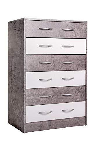 Enrico coveri contemporary mobile cassettiera con 6 cassetti in legno ideale per camera da letto e soggiorno, dimensioni: 63 x 40 x 96 cm l x p x a (grigio rovere)