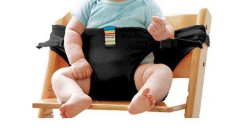 La chaise haute portable lavable de voyage Chaise bébé avec sangles Harnais de sécurité pour tout-petits Bébé nourrissant la sangle-Noir
