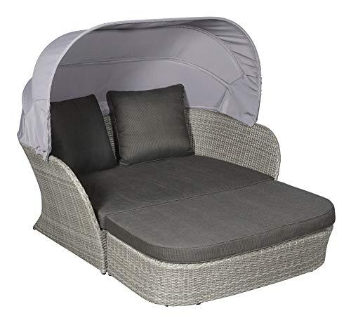 PKline Garten Lounge Sonneninsel Bird + Kissen Sitzgruppe Sitzecke Polyrattan grau