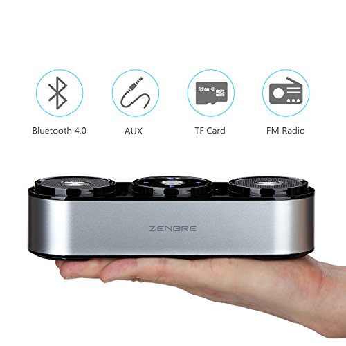 Altoparlanti Bluetooth, ZENBRE Z3 10W Altoparlanti Portatili con 20 ore di riproduzione, Altoparlanti da Computer con Risuonatore di Bassi Potenziato Dual-Driver(Argento)