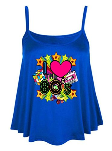 Womens Ladies I Love The 80s Printed Cami Swing Vest Flared Top Party Outfit#(6403#Royal Blue Cami Swing Vset Top I Love 80s Print#L/XL(UK 16-18)#Womens)
