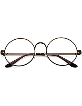 TININNA Retro Estilo Collage redondas gafas Metal Unisex marco redondo Gafas con 702Espejo Normal/espejo decorativo