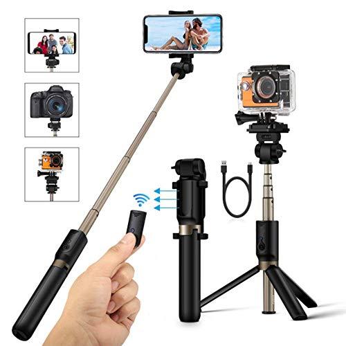 YWT Erweitertes Multifunktions-Bluetooth-Selfie-Stick-Stativ mit drahtlosem Fernauslöser für iPhone X / 8 / 8P / 7 / 7P / 6s, Galaxy S9 / S9 Plus / S8 / S7 / S6 / S5