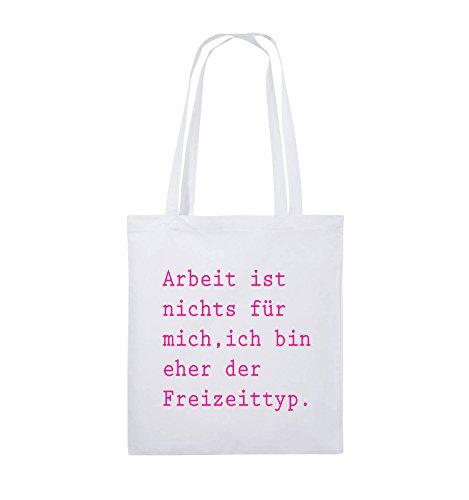 Comedy Bags - Arbeit ist nichts für mich, ich bin ehr der Freizeittyp - Jutebeutel - lange Henkel - 38x42cm - Farbe: Schwarz / Silber Weiss / Pink