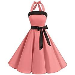 Timormode Vestido fiesta mujer 1950s Scoop Vintage Mujer faldas negras de vuelo falda globo vestido de noche largo Mujer falda blanca corta faldas de tul 10212Coral M