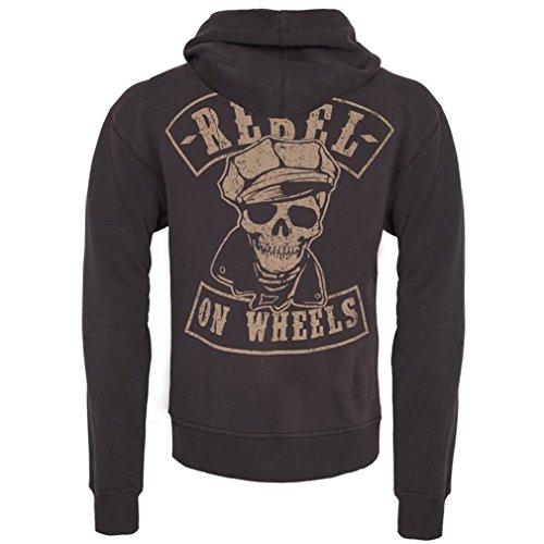 Rebel On Wheels - Anthrazit - Zip Hoodie - King Kerosin (Biker Hoodie Zip)