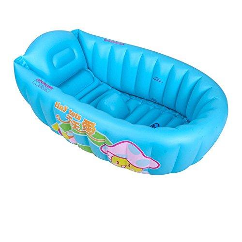 LINAG Bébé Gonflable Baignoire Pliable Portable Bain Sécurité Anatomy Douche Ergonomique Douche Enfant Piscine Plage Voyager Jouer Jeu , blue1