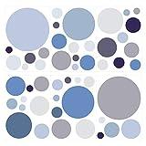Wandtattoo Kinderzimmer Wandsticker Set Kreise in Pastellblau und Pastellgrau S