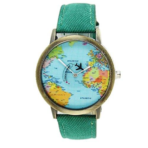 JoyliveCY-Moda mujeres hombres vintage tierra mundo mapa Reloj Denim Tela Mu?eca relojes verde