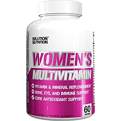 Evlution Nutrition Women's Daily Multivitamin Supplement - Biotin, Vitamins A B C D E, Calcium, Zinc, Lutein, Magnesium, Manganese & More, Multivitamins for Women 60 Servings