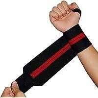 Vosarea 1 par de Guantes de Entrenamiento ventilados para Deportes Unisex con muñequeras para Levantamiento de Pesas (Negro y Rojo)
