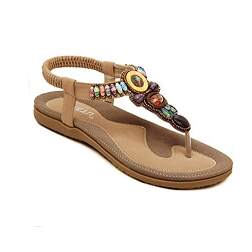 Fulltime®Women's Fashion Sweet Beaded Clip Toe Flats Bohemian Herringbone Sandals Kaki