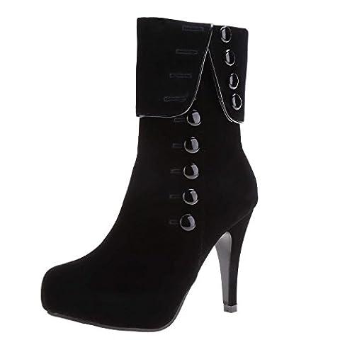 Minetom Damen High Heels Stiefeletten Pumps Stilettos Spitzschuh Schnürschuhe Knöchel Stiefeletten ( Schwarz EU 36 )