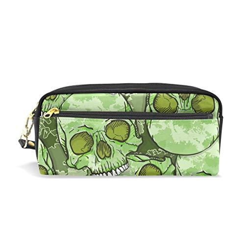 Pouch Federmappe mit Reißverschluss Große Make-up Bag Dark Gothic Style Evil Skull Halloween Bleistift Tasche Bleistift Box für Jungen und Mädchen Kinder Schulbedarf