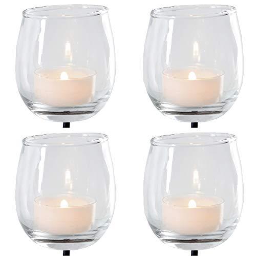 Annastore Teelichtgläser mit Metallstab für Gestecke 4-TLG. Set - Adventskranzstecker
