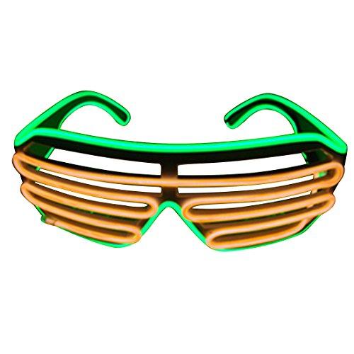 olor LED Beleuchtung Flash Shutterbrille, fluorescent green+orange (Halloween-led-kostümen)