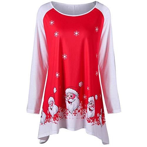 (VRTUR Mode Weihnachten T-Shirts Damen O-Ausschnitt Langarm Lächelnd Weihnachtsmann Claus Drucken Oberteile Bluse (M,X-Rot))