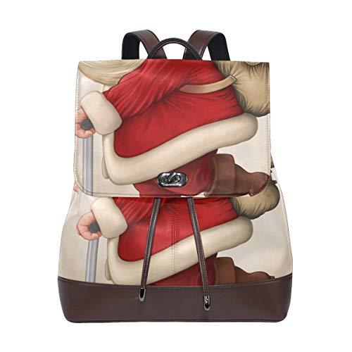 DEZIRO Leder-Rucksäcke Santa Claus und der Push Scooter Schulrucksack Reisetasche