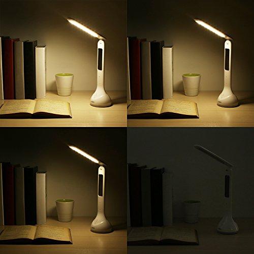 AUKEY Lampada da Tavolo Pieghevole con Calendario e Allarme, 3W 18LED Luce Notturna RGB, Touch Control, Ricaricabile da Porta USB (LT-ST2)
