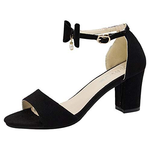 Fannyfuny Sandalen Damen High Heels Pumps mit schnallen Frauen Casual Elegante Bequeme Sandalen Party Schuhe Frau Geschenk Beige, Schwarz 35-40 -