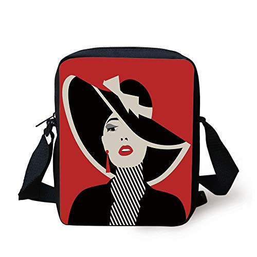 LULABE Girls,French Style Icon in Shabby Chic Classical Vintage Hat and Striped Coat Design Print,Red Black Print Kids Crossbody Messenger Bag Purse Classic Duffle Coat