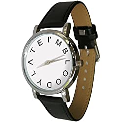 i'm bloody late design watch with a genuine leather strap