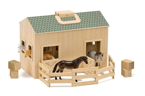 Melissa & Doug Fold and Go Wooden Horse Stable Doll's House With Handle and Toy Horses (11 pcs)