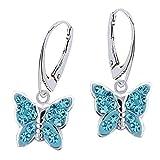 GH1a Blau Kristall Schmetterling Brisur Ohrringe 925 Echt Silber Mädchen Ohrhänger