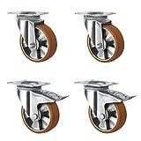 CASCOO SETSHTH200BAU5D0N - Set di ruote con 2 ruote girevoli, 2 con bloccaggio, cerchioni in alluminio, poliuretano, diametro 200 mm, peso pesante, doppio cuscinetto a sfera, portata 1800 kg, 4 pezzi