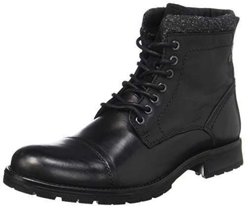 JACK & JONES Herren Jfwmarly Leather Black Klassische Stiefel, Schwarz (Black), 44 EU (Herren Stiefel)