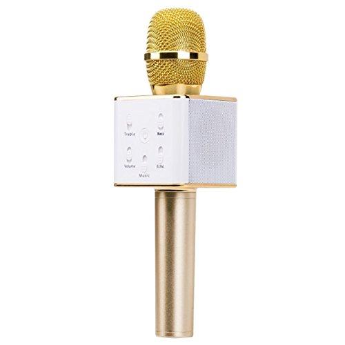 SUAVER K068 Tragbar Bluetooth Drahtlos Lautsprecher Hand Mikrofon für Karaoke Singen Kompatibel mit Smartphones Computer (Gold)