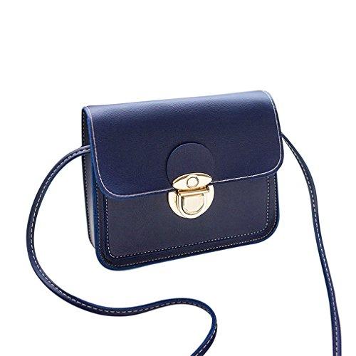 Damen Handtaschen Schultertaschen Damen Totes JYJM Fashion Damen Cover Umhängetasche Geldbörse Handytasche Einfarbig Schloss Messenger Blau