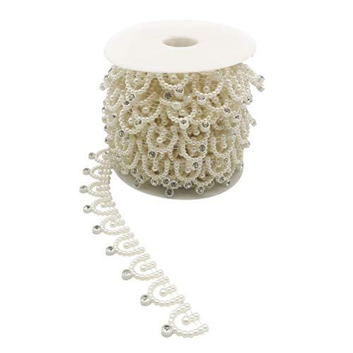 Supvox Perlen Trim Fringe Perle Linie Bohrer Streifen einreihige Linie DIY Kleid Borte Nähen Hochzeit Dekor Handwerk Perlen Trim 10 Yards