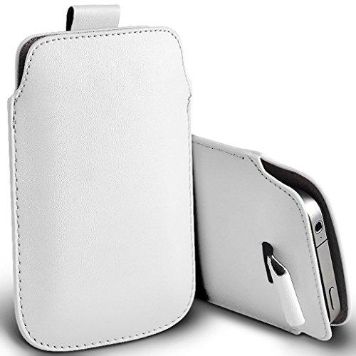 I-Sonite (Weiß) Premium Slip-in Pull-Tab Ärmel Kunstleder Tasche Hülle für BLU Vivo One Plus (2019) [XXXL]